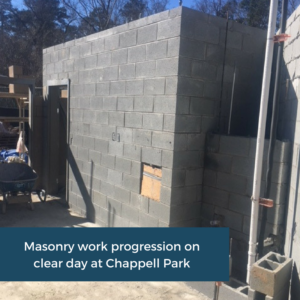 Masonry Work On Site at Chappell Park | Emory University | Cooper and Company General Contractors | Atlanta, GA