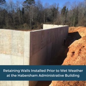 Installed Retaining Walls | Habersham County Administrative Building | Cooper and Company General Contractors | Northeast GA