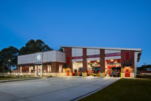 Gwinnett Fire Station #15 | Exterior Evening with Lighting | Cooper & Company General Contractors